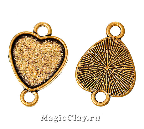 Коннектор-Основа Сердце 26х18мм, цвет золото, 1шт