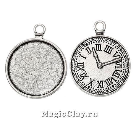 Основа для кулона Часы 34х28мм, цвет серебро, 1шт