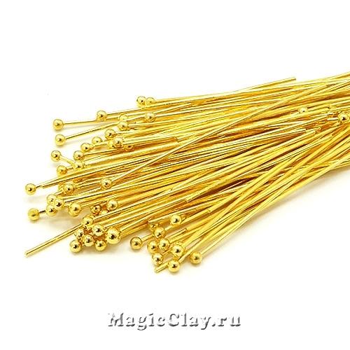 Пины с шариком, цвет золото 35х0,6мм, латунь 1уп (~180шт)
