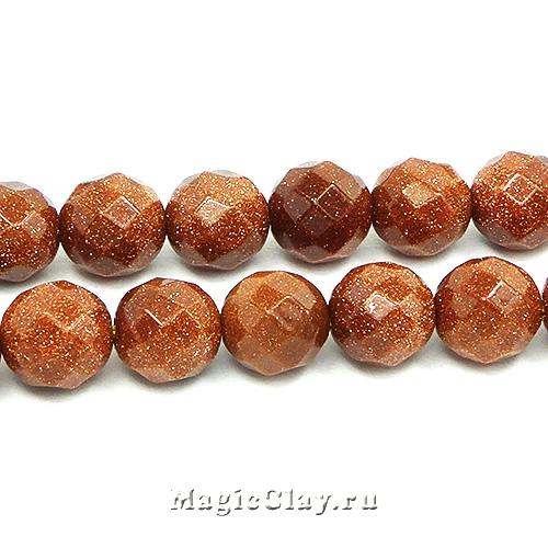 Авантюрин Золотой граненый 10 мм, имитация, 1нить (~38шт)