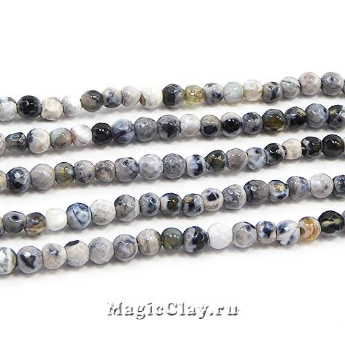 Бусины Агат серый/черный граненый 3мм, 1нить (~125шт)