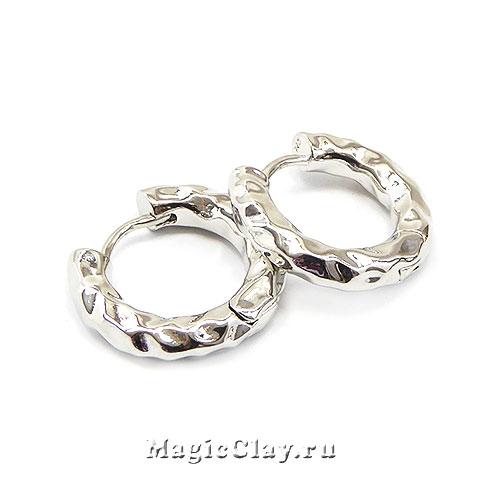 Швензы Кольцо Мятый 22х4мм, родий/платина, 1пара