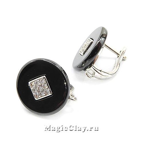 Швензы Керамика Круглые черные Ромб 14мм, родий/платина, 1пара