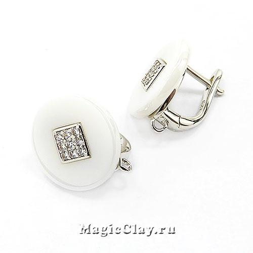 Швензы Керамика Круглые Белые Ромб 14мм, родий/платина, 1пара