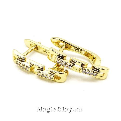 Швензы Цепочка Фианиты 18х3мм, цвет золото, 1пара