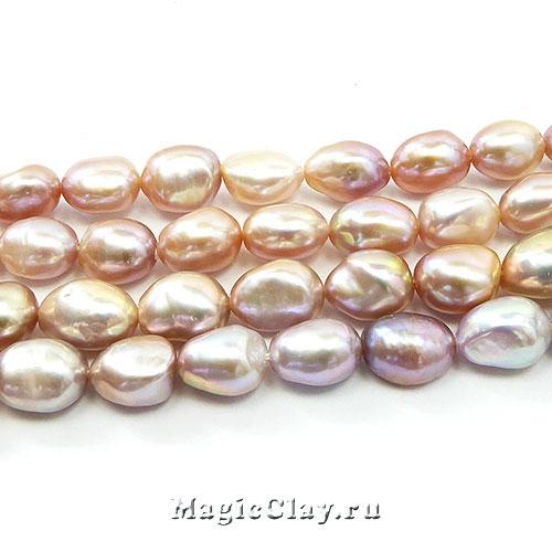 Жемчуг Натуральный, цвет Розовый 7-10х7-8мм, 1 нить (~36шт)
