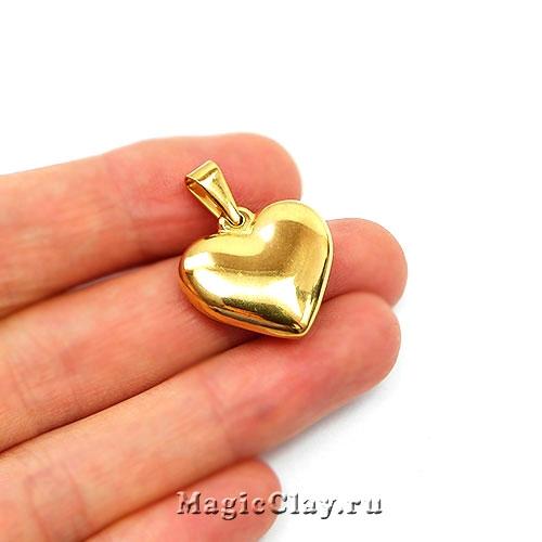 Подвеска Сердце Гладкое 20мм, сталь золото, 1шт