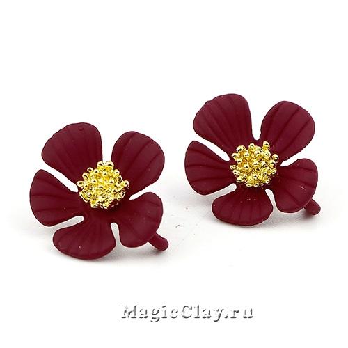 Швензы гвоздики Цветок Бордо 20х17мм, 1пара