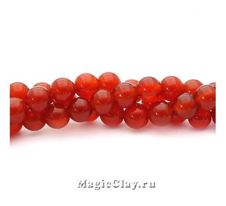 Бусины Агат красный, гладкий 6 мм, 1 нить (~30шт)