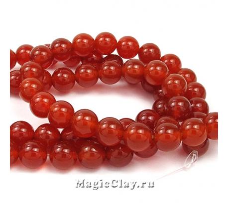 Бусины Агат красный, гладкий 8 мм, 1 нить (~24шт)