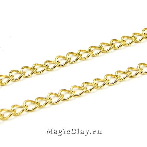 Цепочка Панцирная звенья 4x3мм, сталь золото, 1м