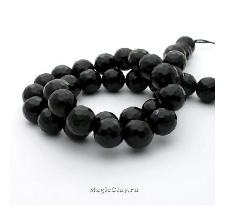 Бусины Агат черный, граненый 10 мм, 1 нить (~38шт)