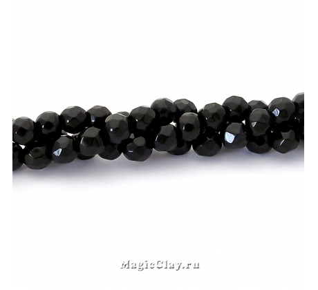 Бусины Агат черный, граненый 4 мм, 1 нить (~94шт)
