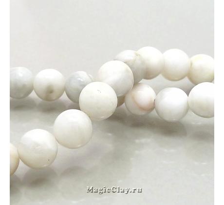 Бусины Агат кружевной,  белый гладкий 6 мм, 1 нить (~62шт)