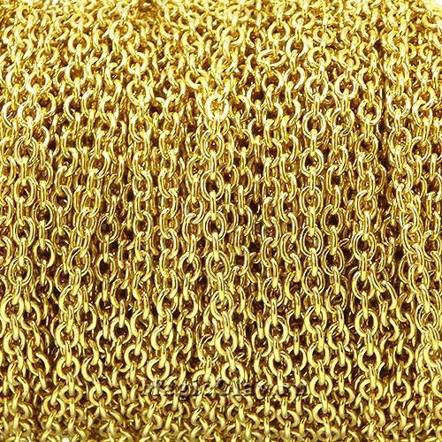 Цепочка Якорная звенья спаяны 2x1,5мм, сталь золото, 1м