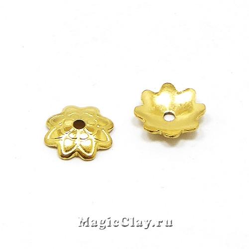 Шапочка для бусины Цветочный Вихрь 7x1,5мм, сталь, цвет золото, 6шт