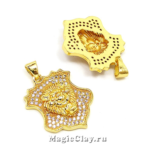 Подвеска Лев Герб 23х19мм, Real Gold 18K, 1шт