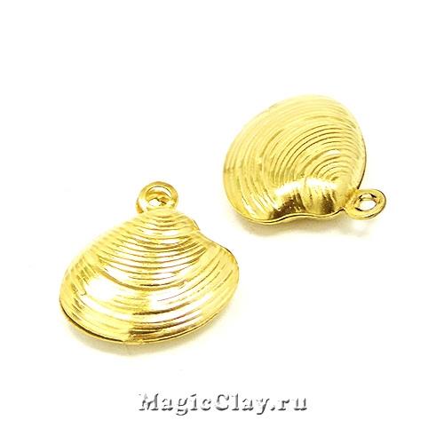 Подвеска Ракушка Шарм 14х13мм, сталь, цвет золото 1шт