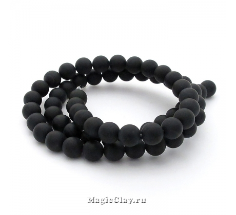 Бусины Агат черный, матовый 6 мм, 1 нить (~61шт)