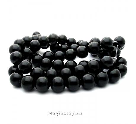 Бусины Агат черный, гладкий 12 мм, 1 нить (~32шт)