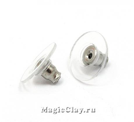 Заглушки для серег Круг 12х7мм, сталь, 20шт
