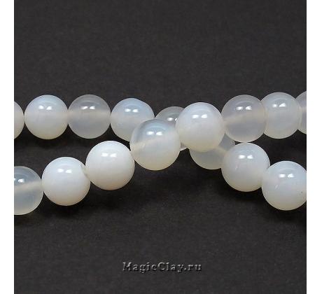 Бусины Агат белый, гладкий 10 мм, 1 нить (~37шт)