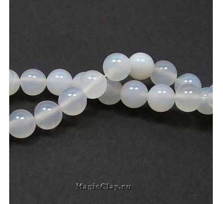 Бусины Агат белый, гладкий 8 мм, 1 нить (~45шт)