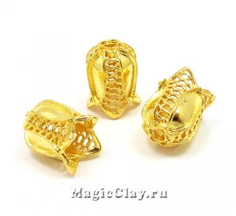Шапочка для бусины Сеточка 12х9мм, цвет золото, 1шт