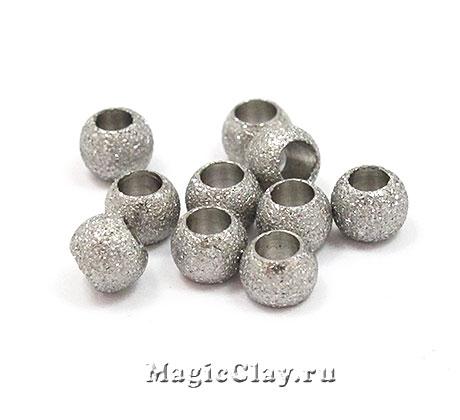Бусина Звездная пыль 4х3мм, сталь, 10шт