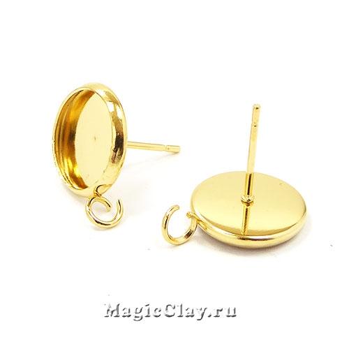 Пусеты с платформой 10мм и кольцом, сталь золото, 1пара