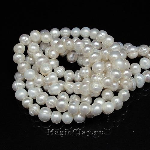 Жемчуг Натуральный, цвет Белый 5х6мм, 1 нить (~70шт)
