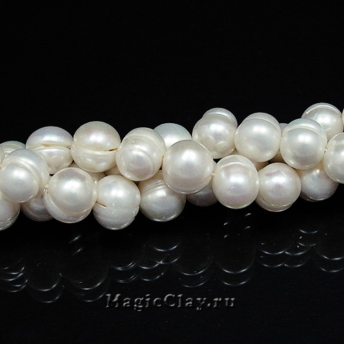 Жемчуг Натуральный, цвет Белый 9х10мм, 1 нить (~42шт)