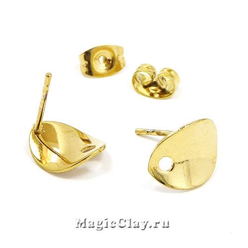 Швензы гвоздики Овал 11х8,5мм, сталь золото, 1пара