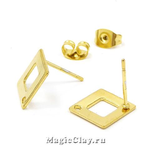Швензы гвоздики Ромб Рамка 14х14мм, сталь золото, 1пара