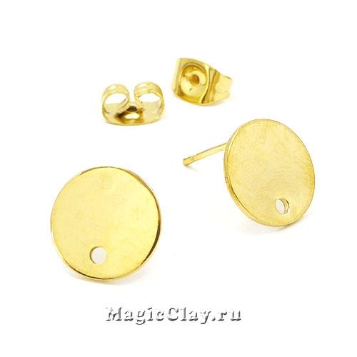Швензы гвоздики Круг 10мм, сталь золото, 1пара