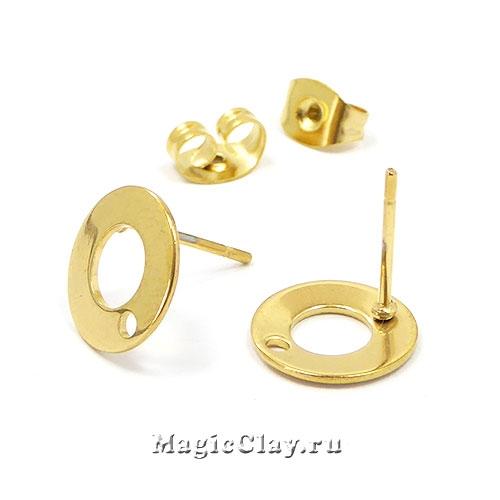 Швензы гвоздики Круг Рамка 10мм, сталь золото, 1пара