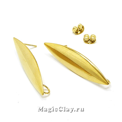 Швензы гвоздики Идиллия 39х9,5мм, сталь, цвет золото, 1пара