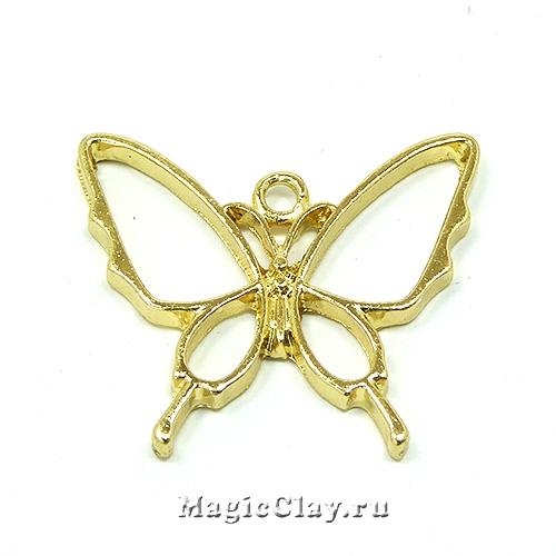 Рамка для кулона Бабочка Махаон 30х26мм, цвет золото, 1шт