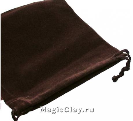 Сумочка подарочная из бархата 12х10см, цвет Коричневый