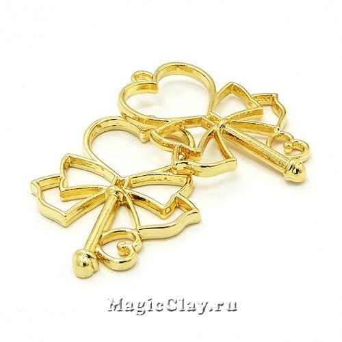 Рамка для кулона Ключик 39х30мм, цвет золото, 1шт