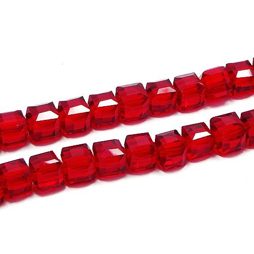 Бусины Кубики Рубиновый 6мм, 1нить (~45шт)