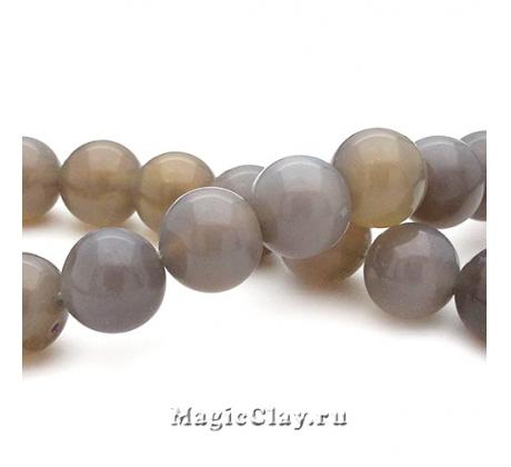 Бусины Агат серый, гладкий 10 мм, 1 нить (~40шт)