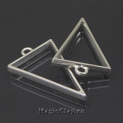 Рамка для кулона Треугольник 39х25мм, цвет серебро матовое, 1шт