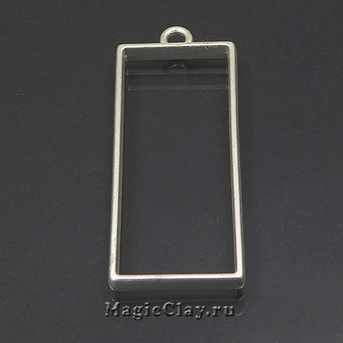Рамка для кулона Прямоугольник 49х20мм, цвет серебро, 1шт