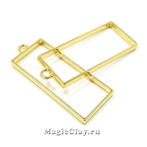 Рамка для кулона Прямоугольник 49х20мм, цвет золото, 1шт