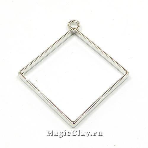 Рамка для кулона Ромб 44х44мм, цвет стальной, 1шт