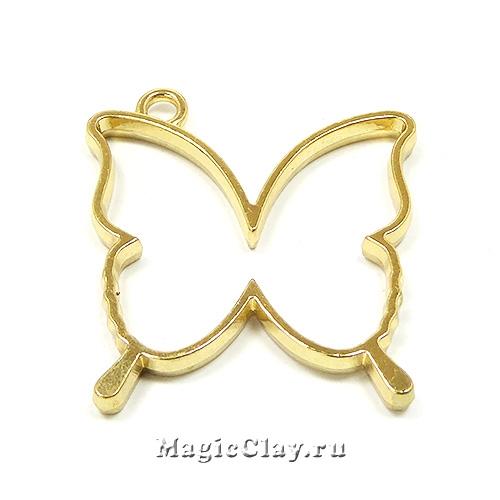 Рамка для кулона Бабочка 35х32мм, цвет золото, 1шт