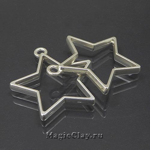 Рамка для кулона Звезда 35х32мм, цвет серебро матовое, 1шт