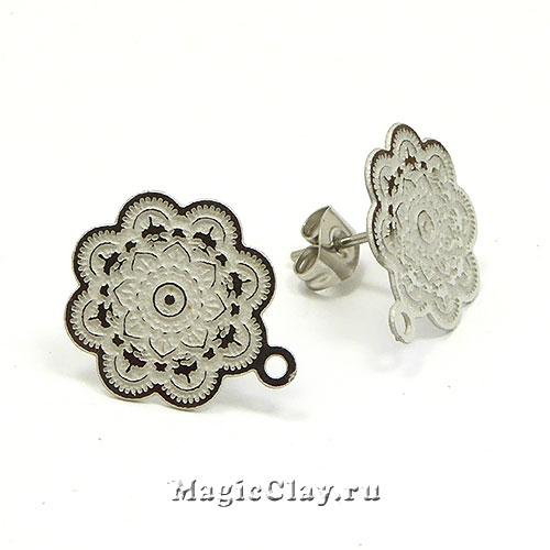 Швензы гвоздики Цветок, 17х15мм,сталь, 1пара