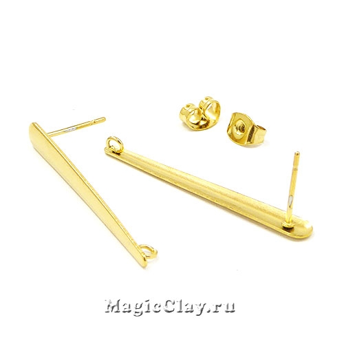Швензы гвоздики Капель 35х4мм, сталь золото, 1пара